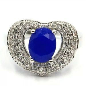 Sale🎊 Natural Sapphire silver filled ring